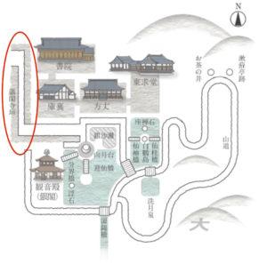 銀閣寺境内地図(HPより引用した地図に加筆)
