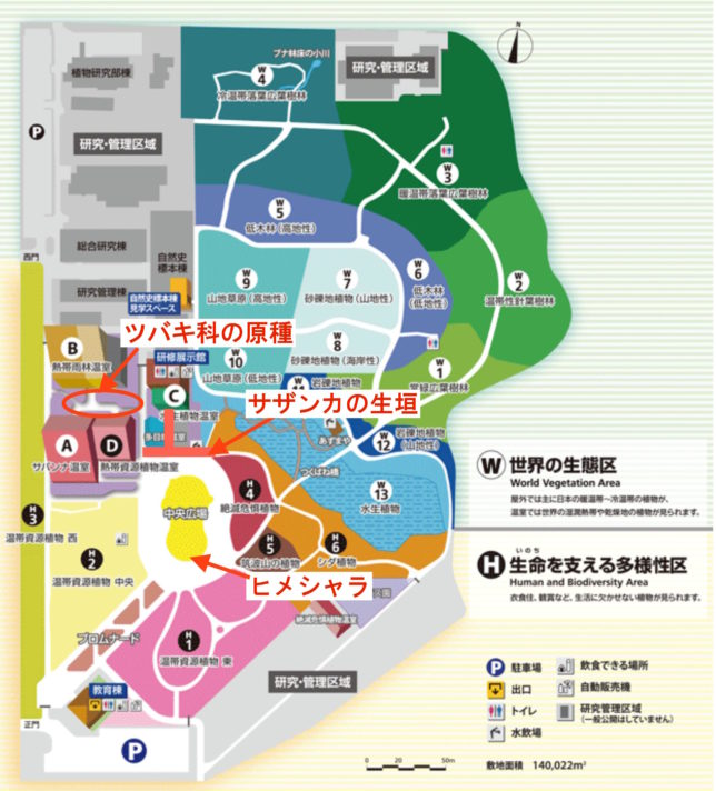 筑波実験植物園内地図(HPより)