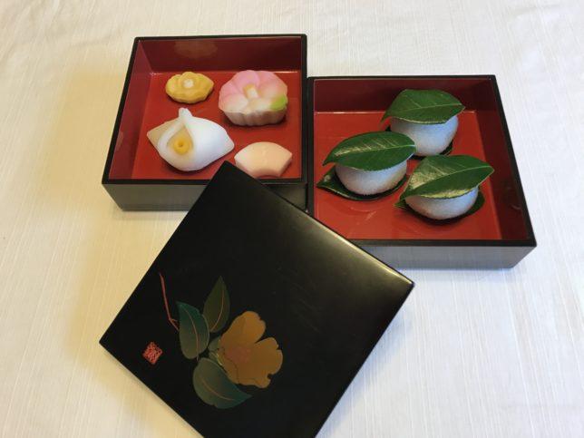 塩野の椿餅、椿の生菓子、椿の干菓子