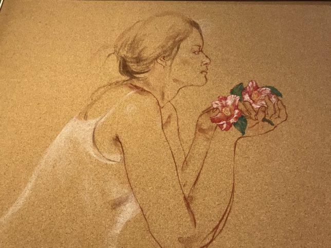 田村能里子「裸足の淑女」左より部分 椿山荘蔵
