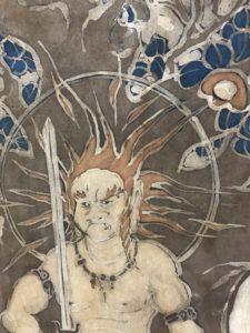 椿襖絵「玉椿と不動尊」満願寺書院の間20180310