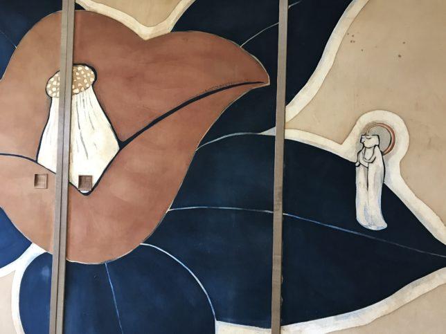 椿襖絵「椿の妖精(椿一輪)」満願寺玄関の間20180310